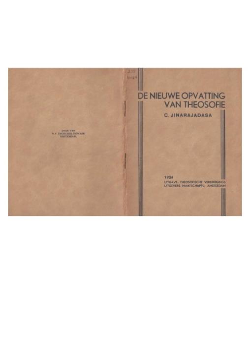 De Nieuwe Opvatting Van Theosofie  C Jinarajadasa (1934)