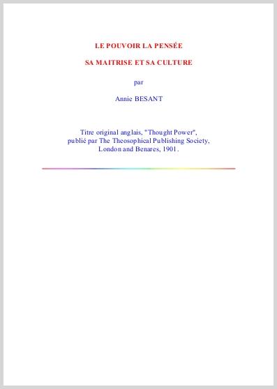 Le Pouvoir De La Pensée, Sa Maitrise Et Sa Culture  Annie Besant Thought Power  French Translation