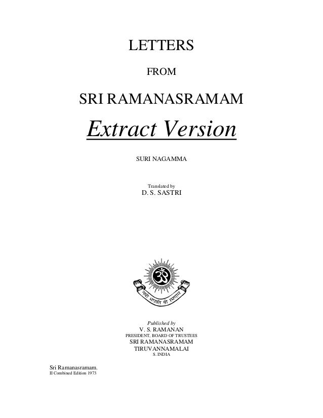 Letters Extract Bhagavan Sri Ramana Maharshi