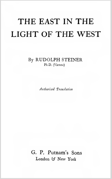 The East In The Light Of The West Rudolf Steiner