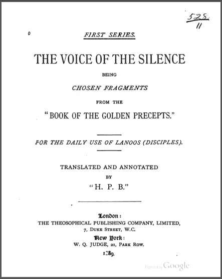 The Voice Of The Silence Scanned Version HP Blavatsky