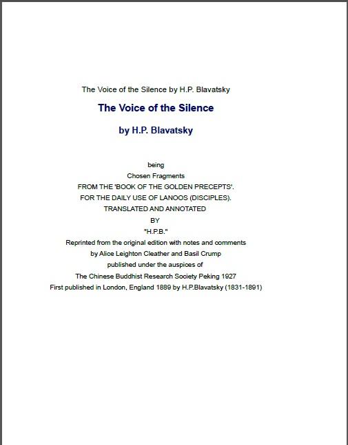 The Voice Of The Silence H P Blavatsky (1889)