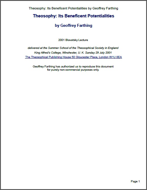 Theosophy Its Beneficent Potentialities Geoffrey Farthing