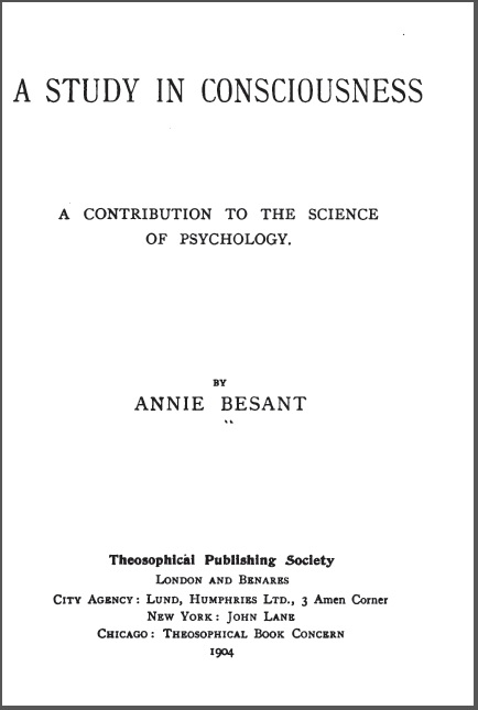 A study in consciousness Annie Besant
