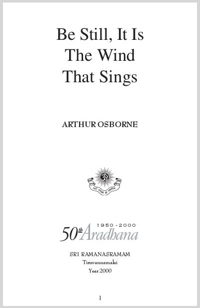 Be Still It Is The Wind That Sings  Arthur Osborne