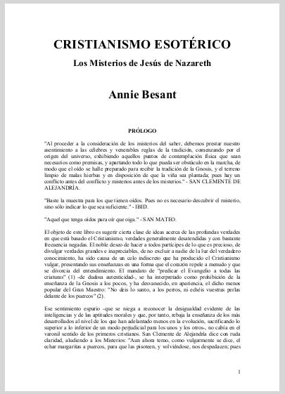 Cristianismo Esoterico   Annie Besant Spanish Translation