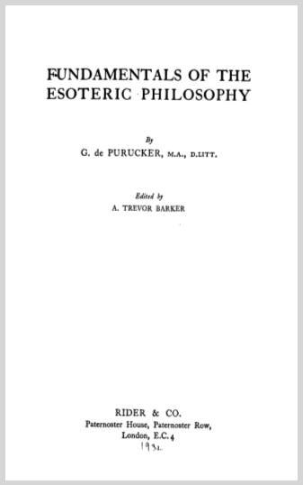 Fundamentals Of The Esoteric Philosophy G De Purucker