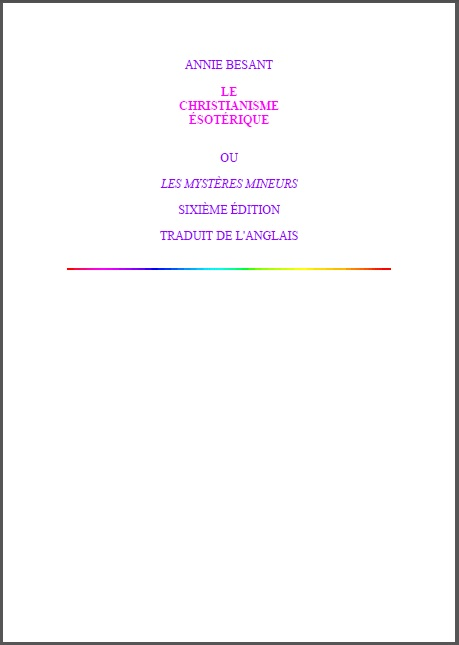 Le christianisme ésotérique Annie Besant  Esoteric Christianity French Translation