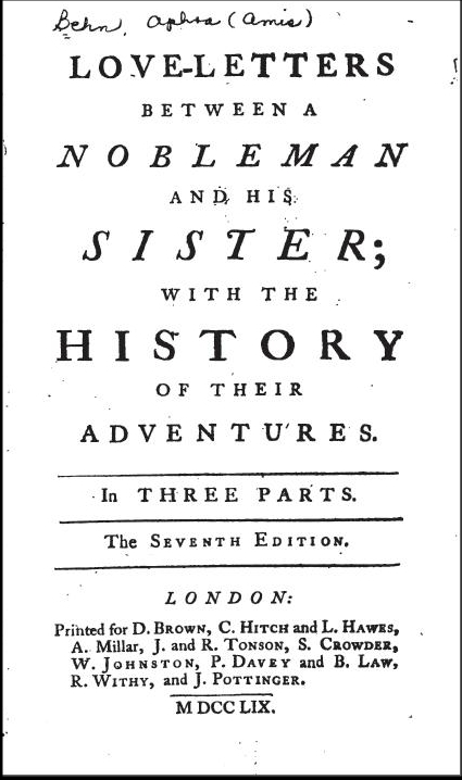 Love-Letters Between a Nobleman and His Sister Aphra Behn