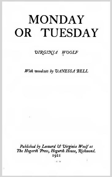 Monday Or Tuesday Virginia Woolf